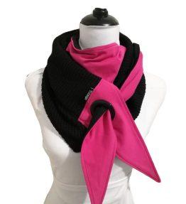 Purjerengashuivi pinkki-musta. big knit.