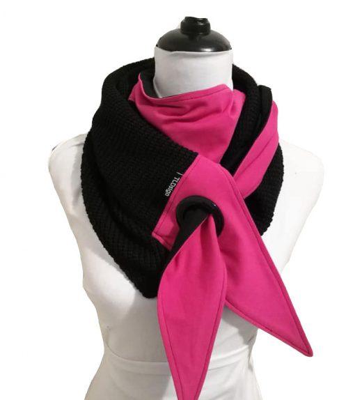 big knit huivi pinkki musta