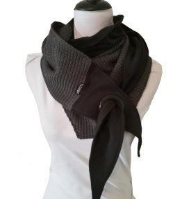 Purjerengashuivi harmaa musta. big knit.