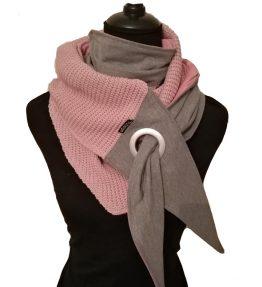 Purjerengashuivi roosa-harmaa. big knit.