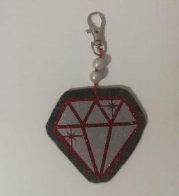 Hohtava laukkukoru timantti säihky puna-harmaa