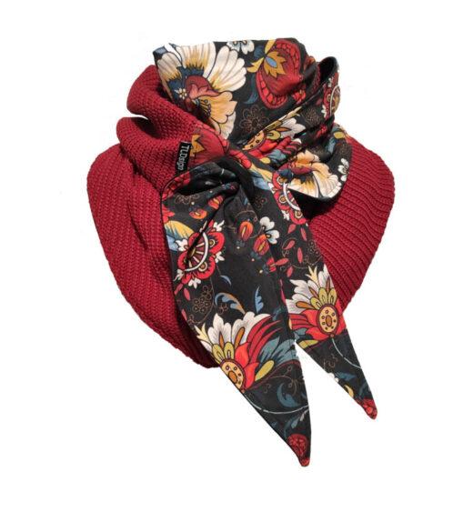 huivi Ornamenttikukat punainen